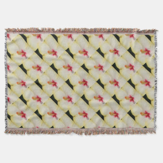 Stamen With Yellow Hibiscus Petal Background Throw Blanket