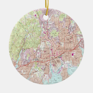 Stamford Connecticut Map (1987) Ceramic Ornament