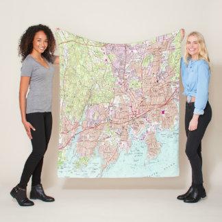 Stamford Connecticut Map (1987) Fleece Blanket