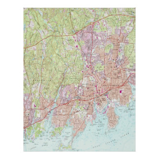 Stamford Connecticut Map (1987) Poster