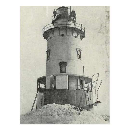 Stamford Harbour Ledge Lighthouse Postcard