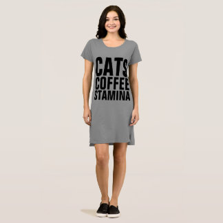 STAMINA Cat Coffee T-shirt Dress