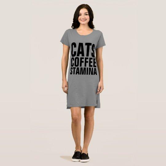Stamina Cat Coffee T Shirt Dress Zazzle