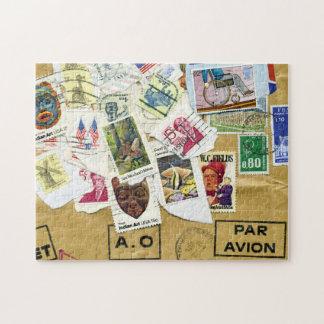 Stamp Collage Bon Voyage Travel Puzzle