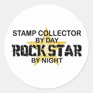 Stamp Collector Rock Star by Night Round Sticker
