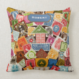 Stamp Collector Throw Pillow Throw Cushions