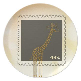 Stamp Giraffe Dinner Plate