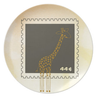 Stamp Giraffe Party Plate