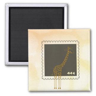 Stamp Giraffe Square Magnet