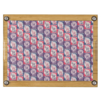 Stamp of Liberty Collage Rectangular Cheese Board