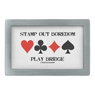 Stamp Out Boredom Play Bridge Four Card Suits Rectangular Belt Buckles