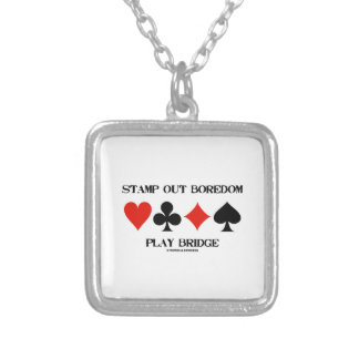 Stamp Out Boredom Play Bridge Four Card Suits Square Pendant Necklace