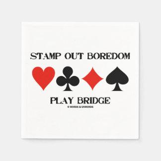 Stamp Out Boredom Play Bridge Four Card Suits Paper Serviettes