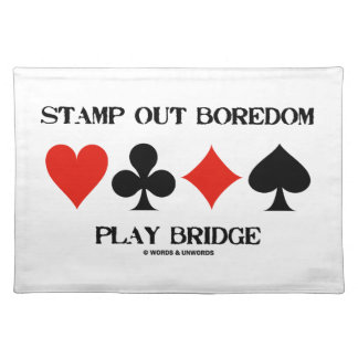 Stamp Out Boredom Play Bridge Four Card Suits Placemats