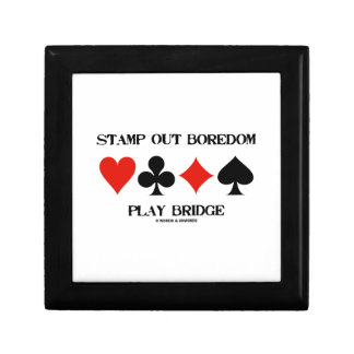 Stamp Out Boredom Play Bridge Four Card Suits Small Square Gift Box