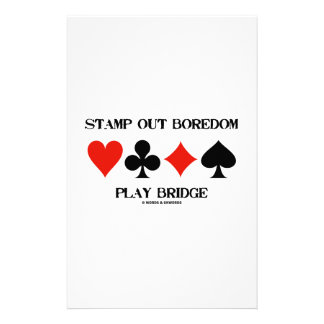 Stamp Out Boredom Play Bridge Four Card Suits Customized Stationery