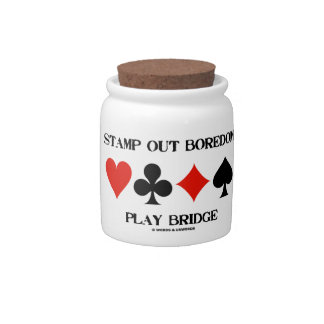 Stamp Out Boredom Play Bridge Four Card Suits Candy Dishes