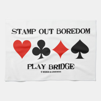 Stamp Out Boredom Play Bridge Four Card Suits Kitchen Towels