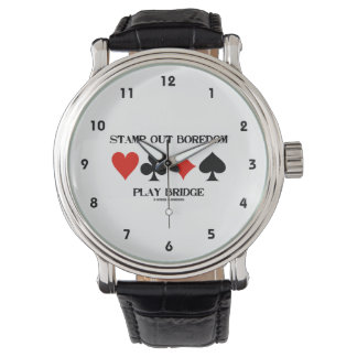 Stamp Out Boredom Play Bridge Four Card Suits Wrist Watch