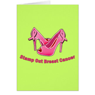 Stamp Out Breast Cancer Stilettos Greeting Card