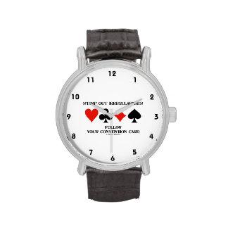 Stamp Out Irregularities Follow Convention Card Wrist Watch