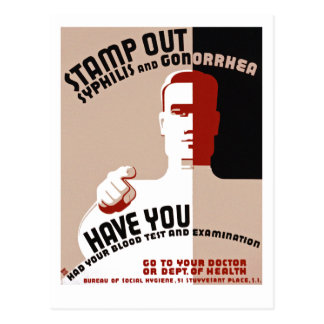 Stamp Out Syphilis and Gonorrhea Postcard