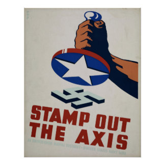 Stamp Out The Axis WPA Vintage Poster