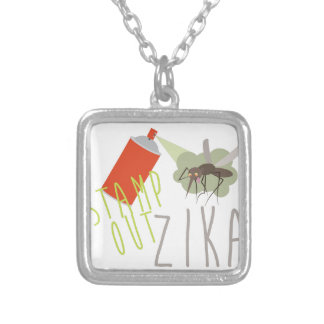 Stamp Out Zika Silver Plated Necklace