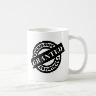 stamp permission granted black classic white coffee mug