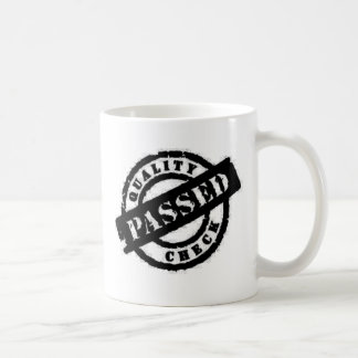 stamp quality passed black classic white coffee mug