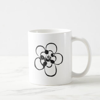 Stamp Style Flower Coffee Mugs