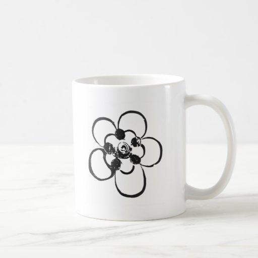 Stamp Style Flower Coffee Mugs