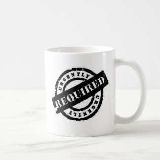 stamp ugently required black classic white coffee mug