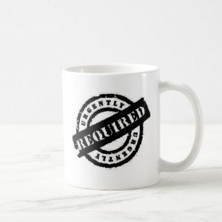 stamp ugently required black mug