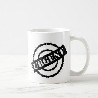stamp urgent black coffee mug