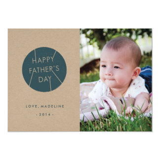 "Stamped Father's Day Card - Dark Teal 5"" X 7"" Invitation Card"