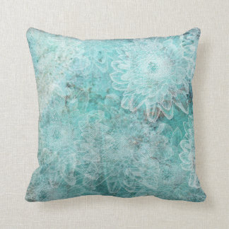Stamped Flowers on Teal Background Cushion