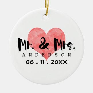 Stamped Heart Mr & Mrs Wedding Date Round Ceramic Decoration