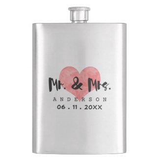 Stamped Heart Mr & Mrs Wedding Date Flasks