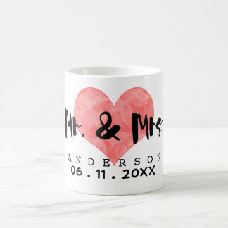 Stamped Heart Mr & Mrs Wedding Date Basic White Mug