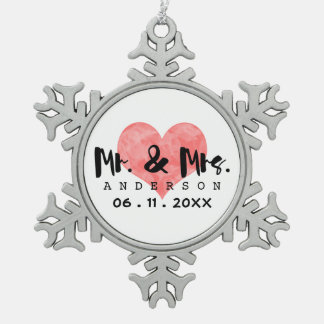Stamped Heart Mr & Mrs Wedding Date Pewter Snowflake Decoration