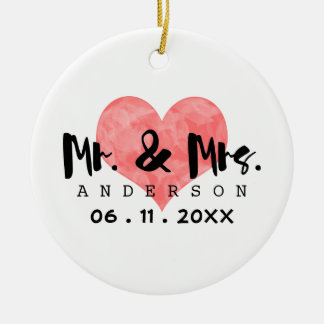 Stamped Heart Mr & Mrs Wedding Date Round Ceramic Decoration