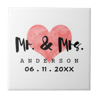 Stamped Heart Mr & Mrs Wedding Date Small Square Tile