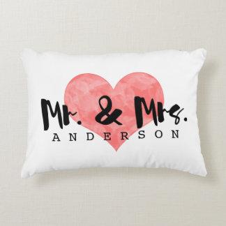 Stamped Heart Rustic Mr & Mrs Monogram Decorative Cushion