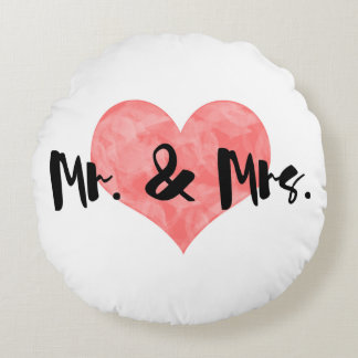 Stamped Heart Rustic Mr & Mrs Round Cushion