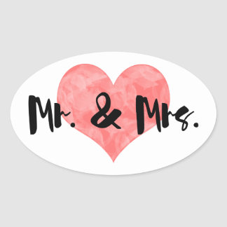 Stamped Heart Rustic Mr & Mrs Wedding Oval Sticker