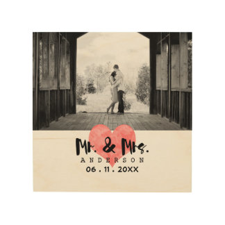 Stamped Heart Rustic Mr & Mrs Wedding Wood Canvas