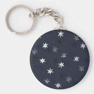 Stamped Star Basic Round Button Key Ring