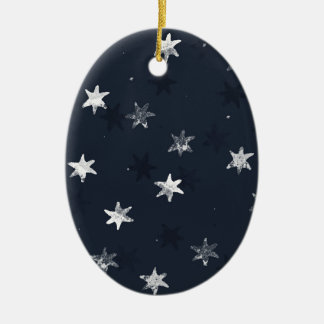 Stamped Star Ceramic Oval Decoration