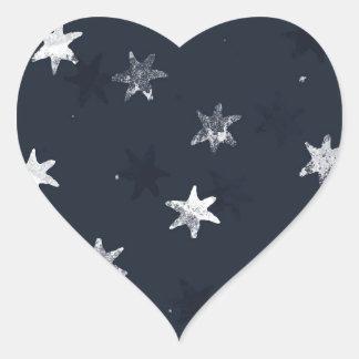 Stamped Star Heart Sticker
